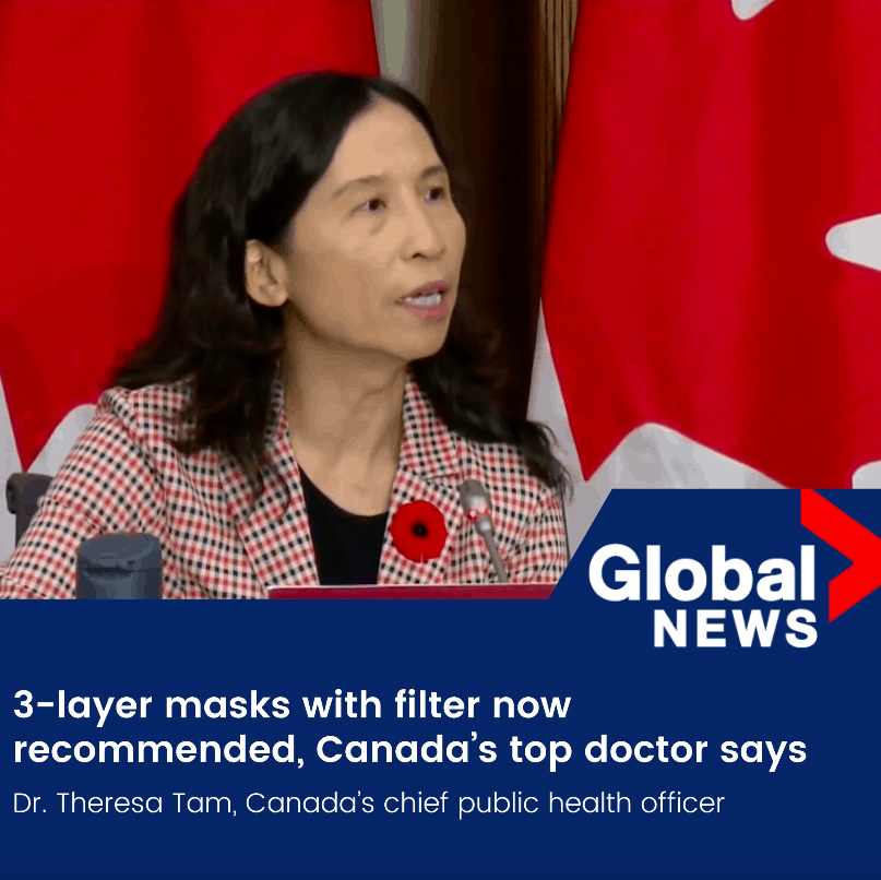 3-layer masks with filter now recommended, Canada's top doctor says
