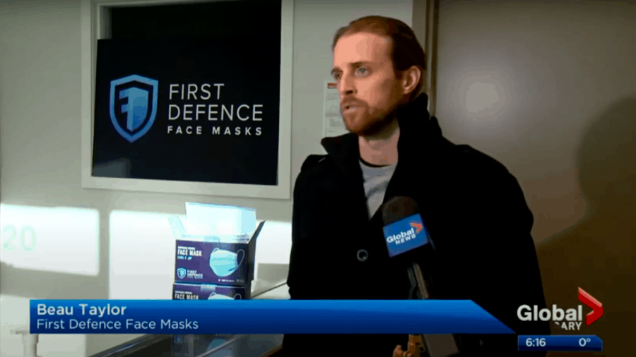 Adam MacVicar from Global News interviews CEO Beau Taylor at the First Defence Calgary facility